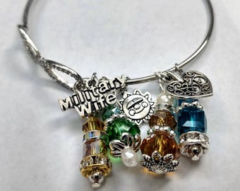Military Wife/Family Charm Bangle Bracelet