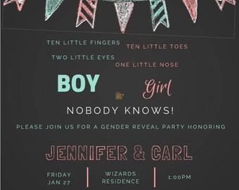 Chalkboard Gender Reveal Invite