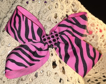 Fancy Bow, Girls Hair Bows, Boutique bows, Easter Bow, heart center, Girls hair bow,  Pink Animal Print, Pinwheel Bow, 5 1/2""