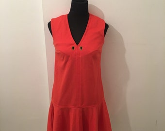 Red/orange 70s vintage SHORT dress with dropped lightly pleated skirt
