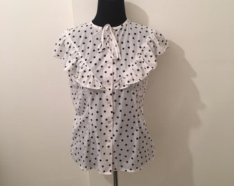 Vintage white and blue POLKADOT ruffle blouse