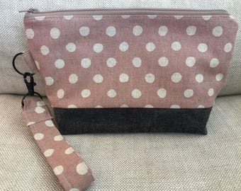Zippered Pouch Clutch Wristlet Wallet  Pouch Purse Blush Dot Canvas Waxed Gray Canvas Valentines Gift  Boho Date Night Coffee Date