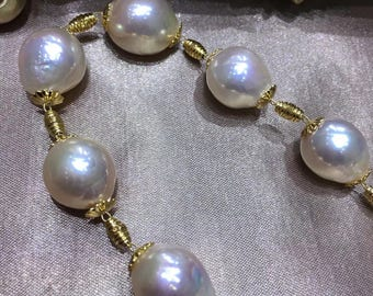 10-12mm Natural White Baroque Edison Pearl Necklace w/14K Gold Filled Beads & Clasp, High Luster Genuine White Baroque Pearl Bridal Necklace