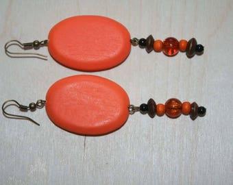 Earrings Orange wood