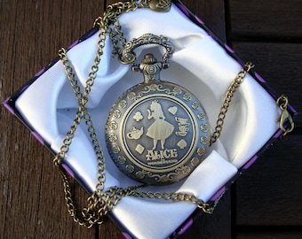 Alice in Wonderland pocket watch - full size watch with charm and FREE deluxe gift box - antique color - free UK postage