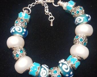 Turquoise Swirl Charm Bracelet