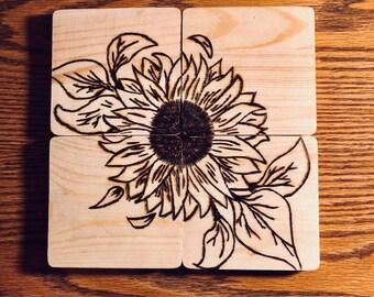 Woodburned Sunflower Coasters