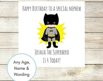 Boys Birthday Card, Personalised Batman Birthday Card, Batman Card, Superhero Birthday Card Son Nephew Any Age Name Wording Handmade Custom