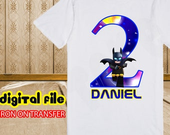 Iron On Transfer Batman Birthday Shirt, Batman Iron On Transfer, Batman Birthday Boy Iron On Transfer, Personalize