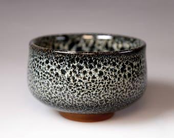 Tenmoku Chawan- Glost-fired Earthen Teacup- Rich texture