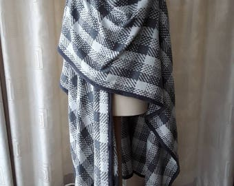 Grey with white plaid shawl