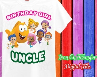 Uncle, Bubble Guppies Iron On Transfer, Bubble Guppies Iron On, Bubble Guppies Birthday Shirt Uncle Iron On, Instant Download