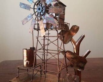 Copper tin musical windmill