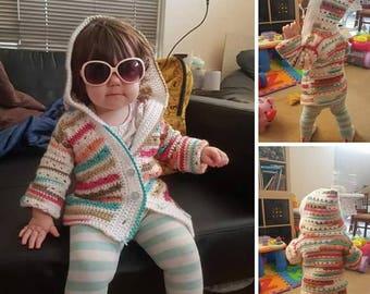 Hooded crochet coat for toddler Size 1-2. Custom sizes available.