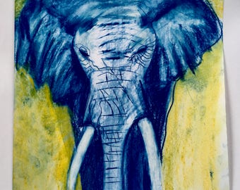 African Elephant in Blue and Yellow