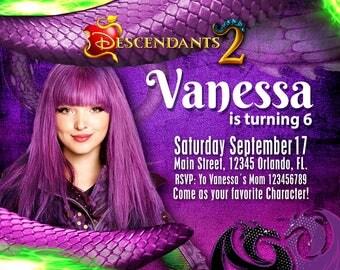 Descendants Mal party invitation  , Birthday party, Celebration, Disney Descendants 2 for kids - uma - eevie - Mal invitation