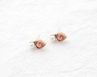 heart pink cubic earring