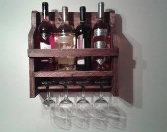 4 Bottle Wood Wine Rack