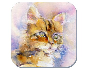 My Kitten - Cat Coaster (Corked Back). From an original Sheila Gill Watercolour Painting