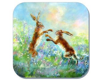 Hares in Action - Hare Coaster (Corked Back). From an original Sheila Gill Watercolour Painting