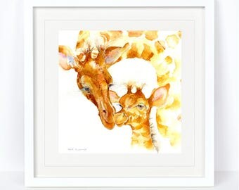 Quality Time - Giraffe Print. Printed from an Original Sheila Gill Watercolour. Fine Art, Giclee Print, Hand Painted, Home Decor