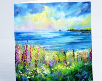 Falling Light Cornwall - Greeting Card by Sheila Gill