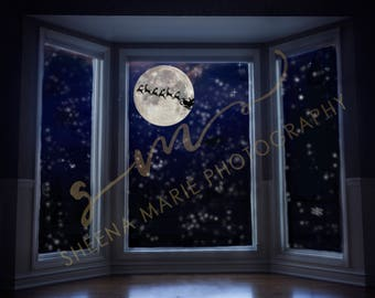 Magical Waiting For Santa Sleigh Window Composite