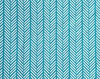 Cyan Herringbone Fitted Crib Sheet