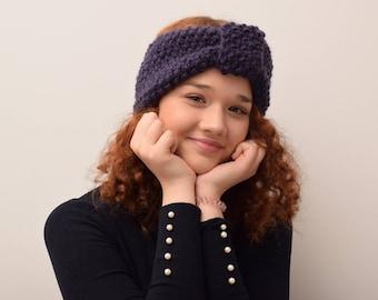 Handmade, merino wool, knitted turban, warm headgear, winter coarse, with hand fashion, wool, soft with colour: dark violet