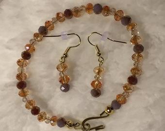Multi-Color Glass Beads Bracelet And Earrings