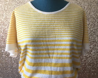 vintage yellow and white striped knit top