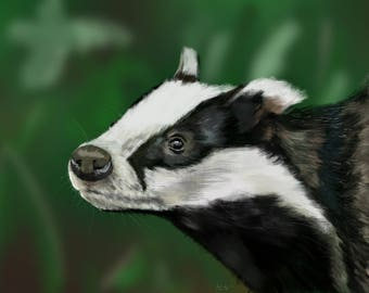 Badger Digital Painting Print / Great gift for Nature Lovers / British Wildlife / Mothers Day Gift / 10%  Donated to Badger Trust