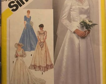 Vintage 1980's Simplicity 5440 Wedding Gown Dress Pattern Sz 14