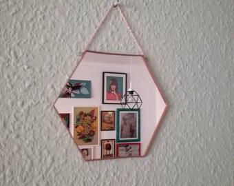 Small hexagonal mirror, geometric design, copper