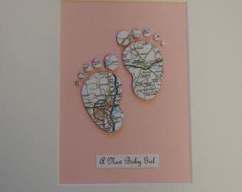New Baby Personalised Map Picture, Baby Boy, Baby Girl, Custom, Map picture, Personalised Gift, Baby Feet