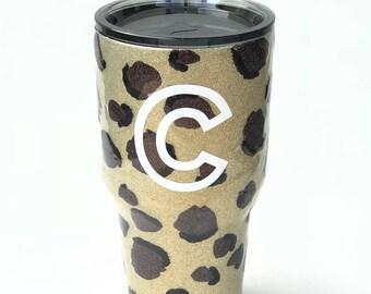 Custom handmade cheetah tumbler