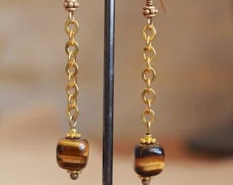 Tigers eye earrings w/14 karat gold