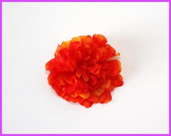 Fire Carnation Flower Hair Clip