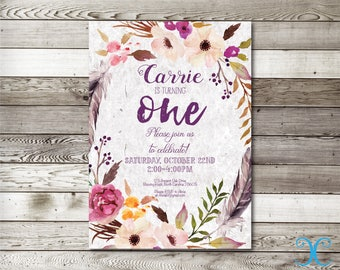 Birthday Invitation, Girl Birthday Invitation, Floral Birthday Invitation, First Birthday Invitation,Antique Invitation,Rustic Printable,006