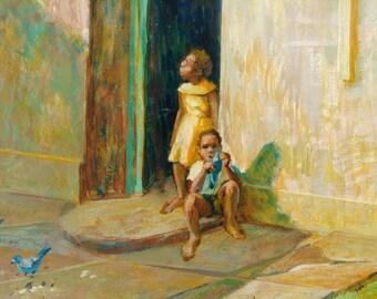Vintage Oil Painting Church Children Mid Century Landscape Martha Liebert Signed