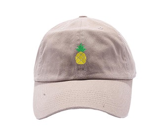 Pineapple Dad Hat / Custom Embroidered Hats / Embroidery Baseball Cap / Khaki Dad Cap / FREE SHIPPING