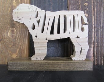 Scroll Sawn Bulldog Shelf Sitter, dog Lover, Handmade, Gift