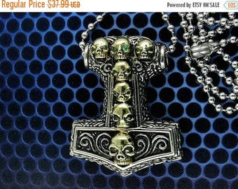 On Sale Brass Viking Thor's Hammer Skull Pendant Necklace, Free Shipping