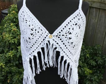 Handmade Crochet Boho Hippie Fringed Crop Top for Festivals or Beach Cover Up
