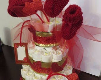 Diaper Cake Red with  Handmade Red Hat & Sock pair for Baby shower Center Piece Brand New