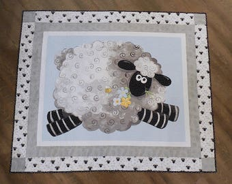 Sheep Quilt, Baby Quilt, Blue, Baby, Shower Gift, Animal Quilt, Minky, Gray, Blue and Gray