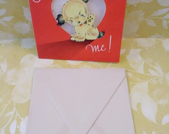 Vintage Valentine Card/vintage greeting cards/Valentine cards/puppy/papercrafts/scrapbooking/love cards/paper ephemera/art projects