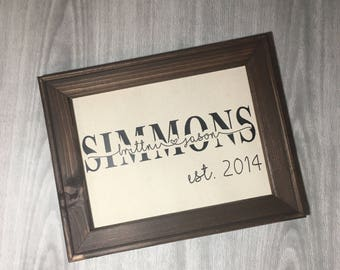 Personalized Framed Canvas with Couples First and Last Name and Established Year