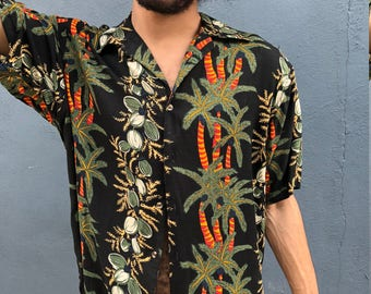 80s Vintage Palm and Coconut Shirt