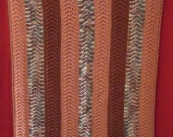 Handmade crochet scalloped afghan throw blanket